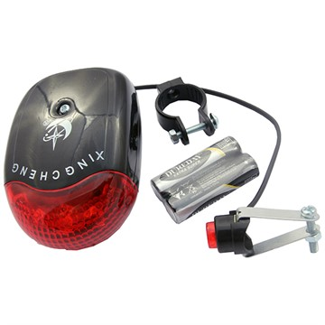 Фонарь для велосипеда задний, 8 мелодий, 5 LED, 7 функций, батарейки