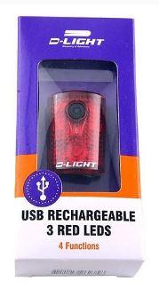 Фонарь задний, 4 функции, USB кабель/ литиионные батареи, 3 LED, D-LIGHT