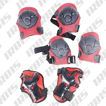 Защита велосипедная локтей, коленей, ладоней, ТИП1, детская, пластик, черно-красный