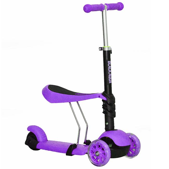 Самокат-беговел MG023, светящиеся колёса, фиолетовый