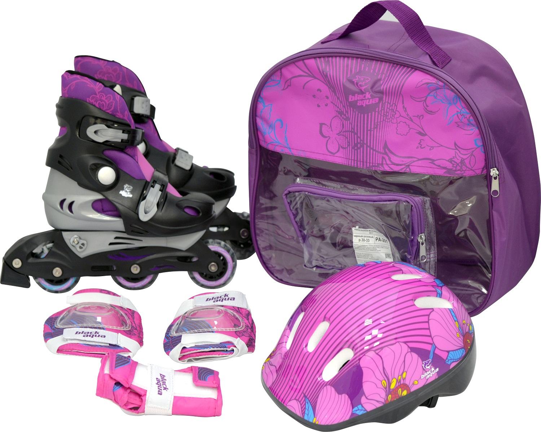 Набор BLACKAQUA PA-201, роликовые коньки для детей р. 26-29, чёрно-розовый