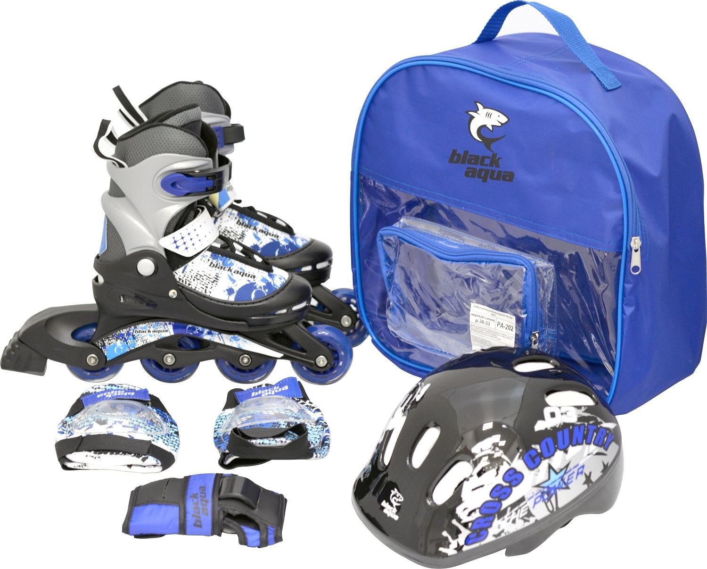 Набор BLACKAQUA PA-202, роликовые коньки и защита, р. 34-37, чёрный, синий
