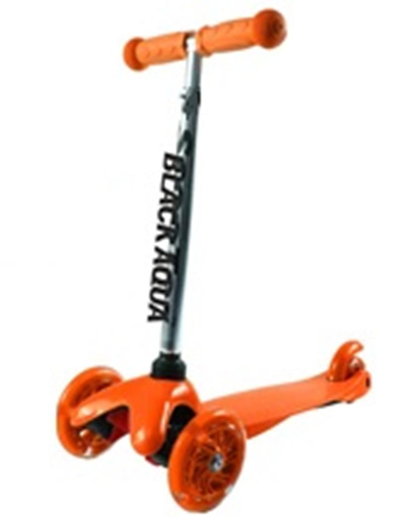 Самокат BLACK AQUA MG002 со светящимися колёсами оранжевый