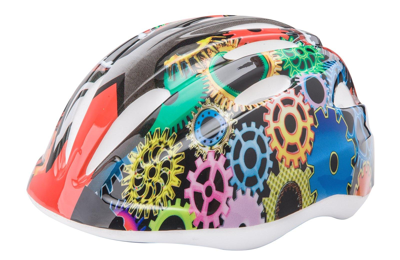 """Детский защитный шлем HB6-3_c (out-mold) """"разноцветные шестерни"""""""