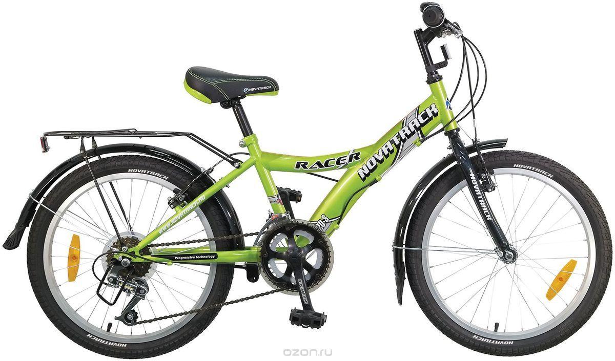 """Детский велосипед NOVATRACK 20"""", зеленый, 12 скоростей"""