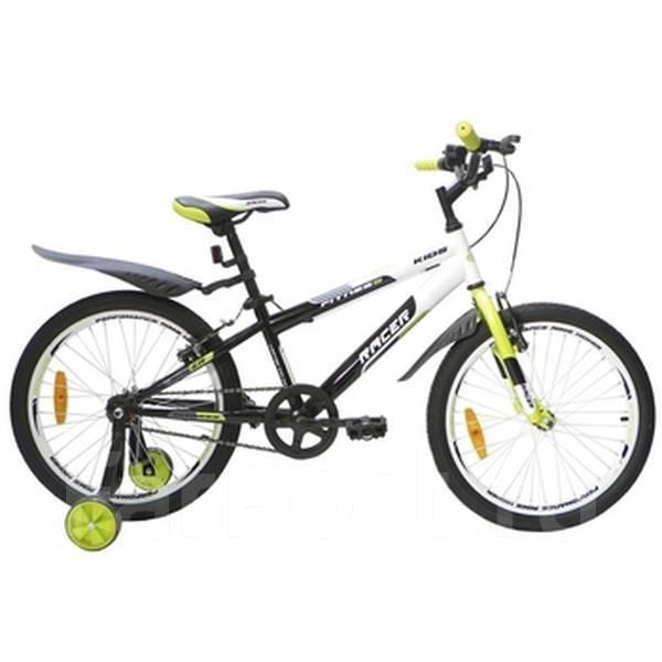 Детский городской велосипед Racer 20-001 с опорными колесами зеленый