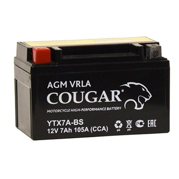 Мото-аккумулятор Cougar AGM VRLA YTX7А-BS