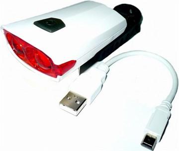 Велофара задняя, 2 светодиода (USB-кабель для зарядки)