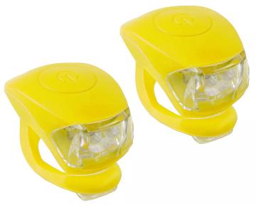 Велофара, мягкое крепление, пластик, 2 светодиода, цвет жёлтый