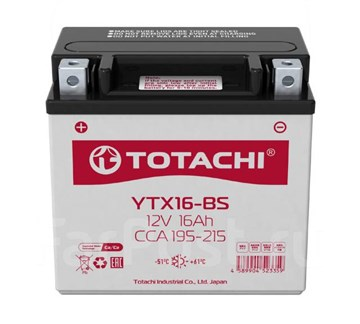 Мото аккумулятор TOTACHI MOTO CMF  YTX16-BS R