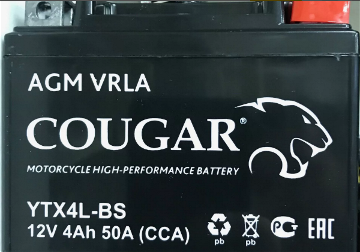 Мото аккумулятор Cougar AGM VRLA YTX4L-BS